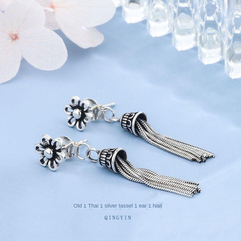 ViaX9 ve saf gümüş püskül S925 eski Tay gümüş püskül küpe çiçek küpe