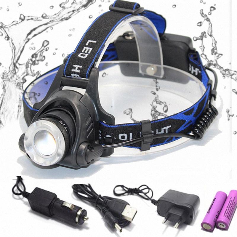 faro LED faro pesca 8000 lumen T6 / L2 3 modos de Zoomable lámpara impermeable de la cabeza de la antorcha cabeza de la lámpara uso 18650 UMVI #