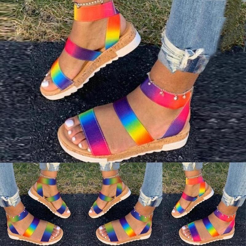 Mesdames cuir souple Sandales talon compensé Chaussures pour femmes Chaussures Ruban Talons 4 cm épais Bas Sandales d'été 35 43 Chaussures Chaussures vertes Sh # GABt