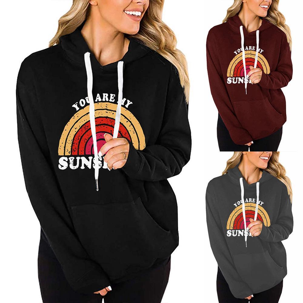 2020 neue Herbst-Frauen-Hoodies-Sweatshirts plus Größe Heißer Verkauf Artfrauen Sie sind mein Sonnenschein Regenbogen drucken Langarm-Kapuzen
