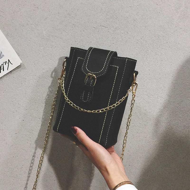 La bolsa de mensajero de las mujeres del cubo del bolso de hombro de la PU de señora en Cadenas Bolsos Mujer Negro Beach Carteras Monederos YCxb #