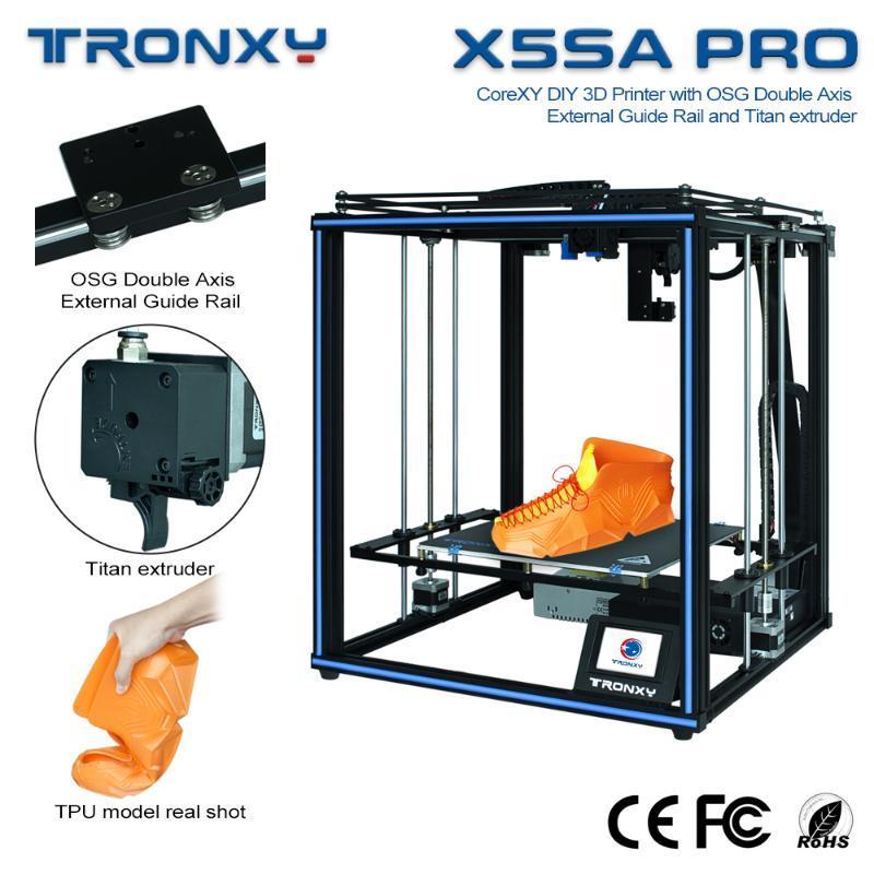 Tronxy 3D Yazıcı Seti X5SA OSG Çift Eksen Dış Kılavuzu Rail ve Titan Extruder Impressora ile CoreXY DIY 3D Printer PRO