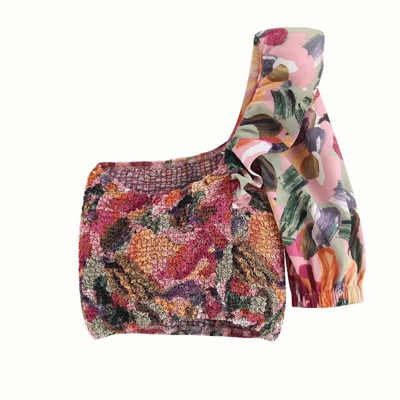 nuevos hombro de las mujeres elásticos corta blusas de la camisa de impresión mujeres plisadas lanminated riza ROUPAS Femininas camisas chemise LS4068
