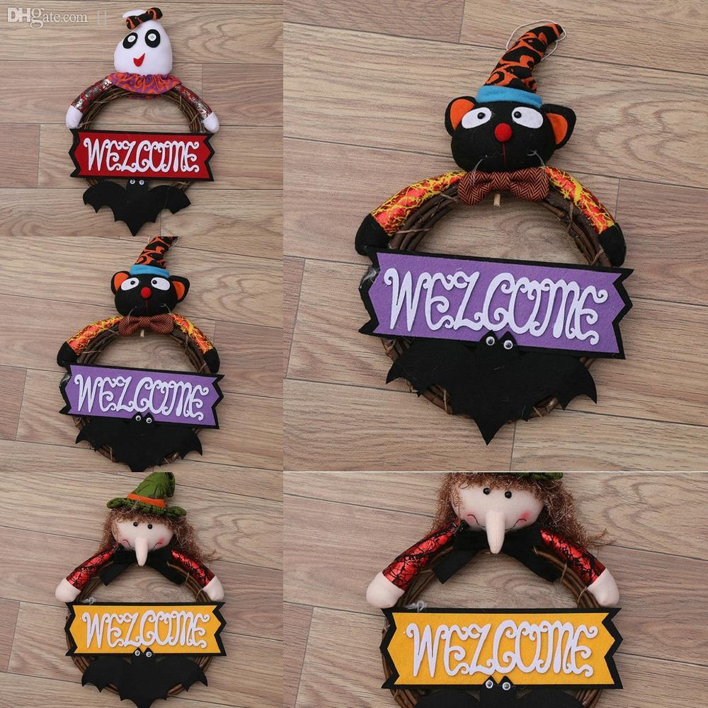 rIVyX Венок Вешалка призрак с Прочные Плечики Черная кошка стеллаж для хранения Органайзер на Рождество Hook Металл Witch Рождество Железные двери Хэллоуин