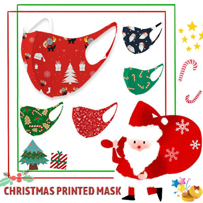 Взрослые Дети моющегося Рождества партия Маска Мода 3D Печатные Санта-Клаус Hat Candy Elk Ice Шелковых Маски Дети Хэллоуин многоразового Face Mask