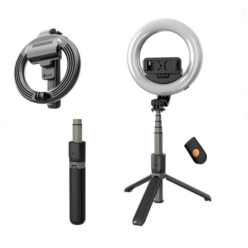 L07 selfie Stick con selfie Light Ring 5 pollici a LED con supporto pieghevole Treppiedi Treppiede selfie per il trucco in diretta