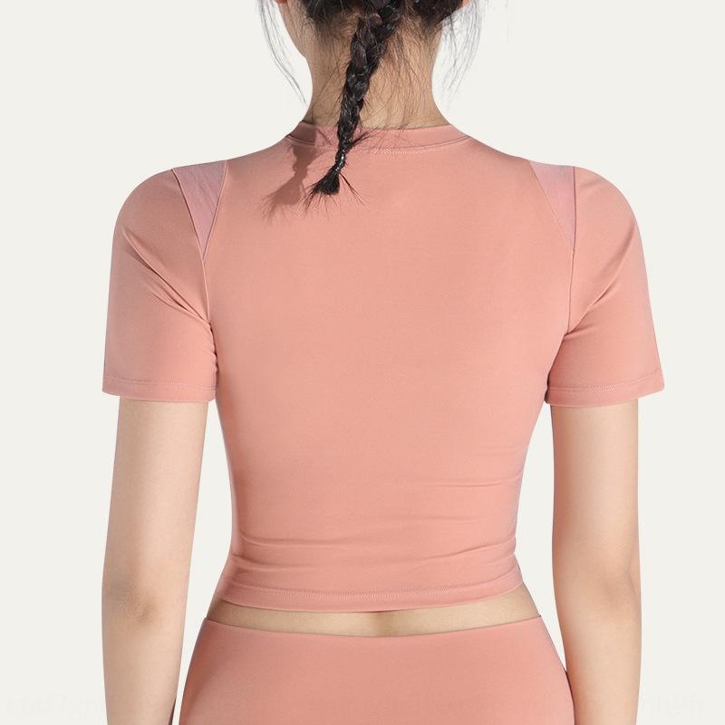 Dünnte nackte Kleidung girlsT-Shirt kurze Kleidung Yoga-Kleidung Top Yoga suitsleeve in dünnen Art und Weise fit Sport Nabel sexy Fitness Top L9QYo L9