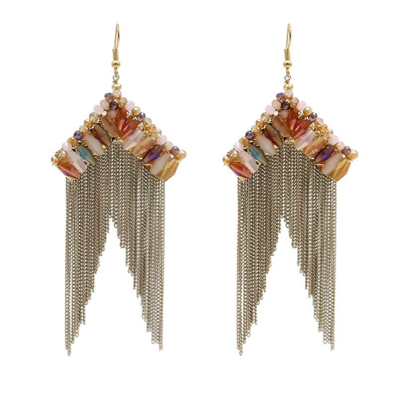 Popolare a mano di cristallo perline boho catena penzoloni ciondola nappa lunga orecchini per le donne Dichiarazione monili di estate di vacanza boho