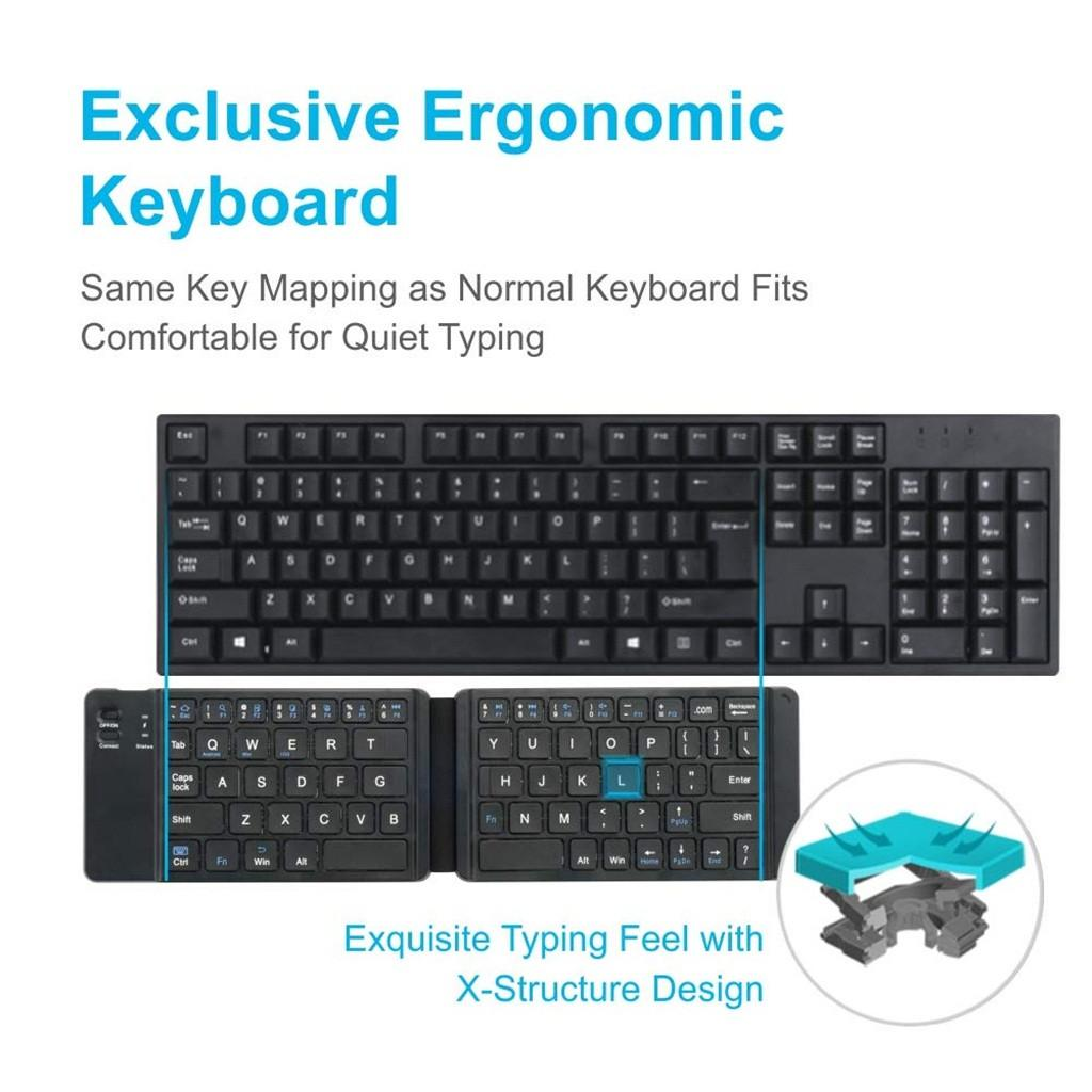 Новый светлый английский английский Bluetooth складной клавиатуры, складная беспроводная клавиатура для iOS / Android / Windows iPad планшетный телефон