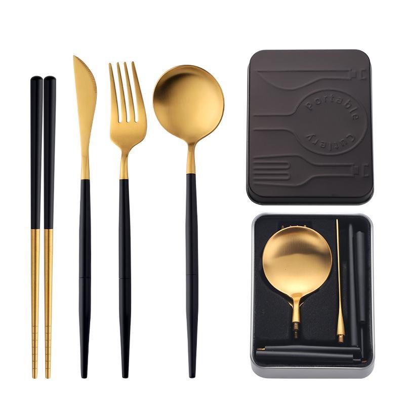 Портативный Flatware комплект Собранного нож вилка ложка Ужин Chopstick Multicolor металл стал набором столовых приборов с Школьным Travel Box