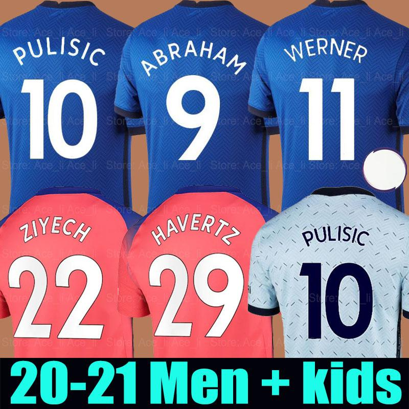 20 21 Camisa de futebol Chelsea PULISIC HAVERTZ WERNER ZIYECH soccer jersey THIAGO SILVA LAMPARD ABRAHAM KANTE 2020 2021 Conjunto de uniforme masculino + infantil
