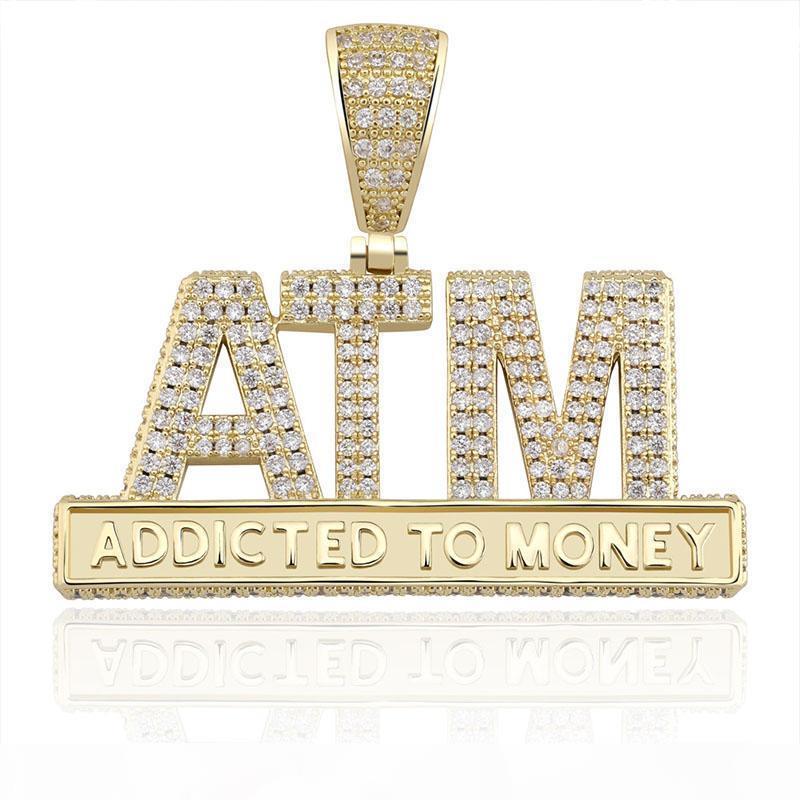 lettere pendente della collana Il nuovo modo ghiaccia fuori Addicted To denaro Bling Hip Hop regali gioielli fascino degli uomini di zircone cubico