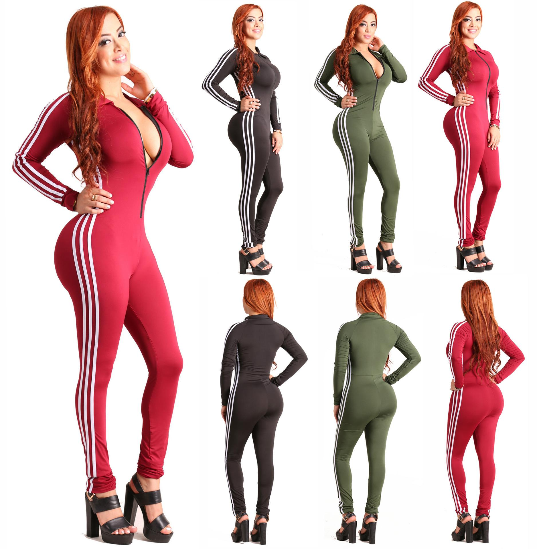Women sexy Jumpsuits solid color rompers zipper skinny onesie long sleeve bodysuits clubwear summer clothes slim one piece pants D804