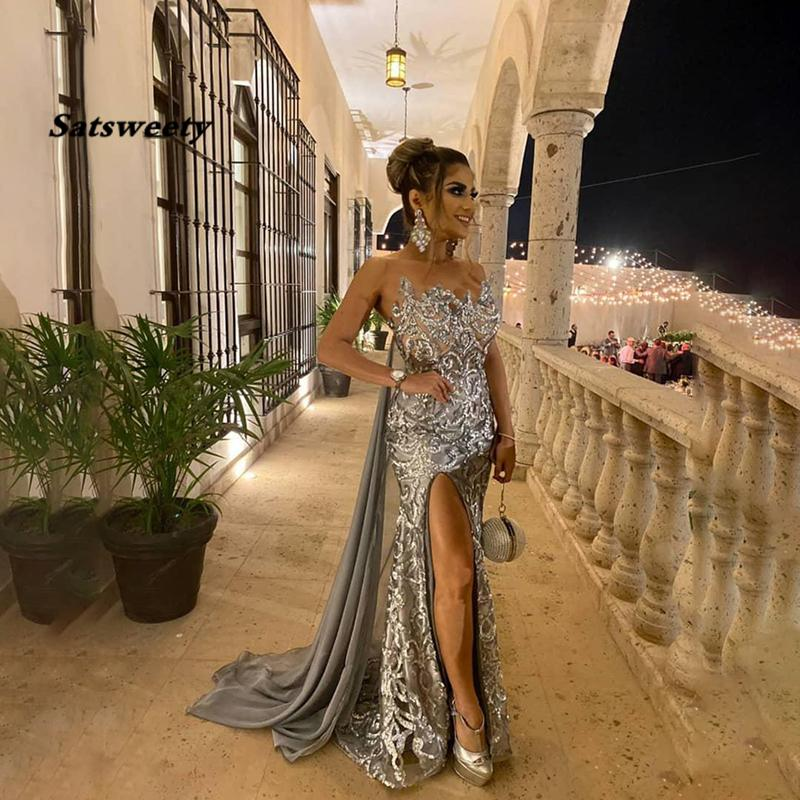 Mermaid Prom Dresses 2021 Sequins Beaded Applique Evening Gown Sexy Backless Side Split Formal Dress Long suknia wieczorowa