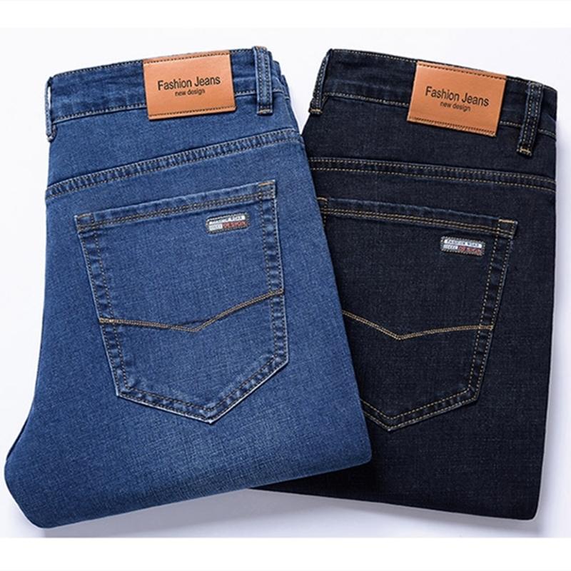 2020 otoño nueva pantalones color sólido del tamaño de los hombres de negocios más juvenil delgados pantalones rectos-Estiramiento de la pierna de los pantalones casuales de la moda suelta