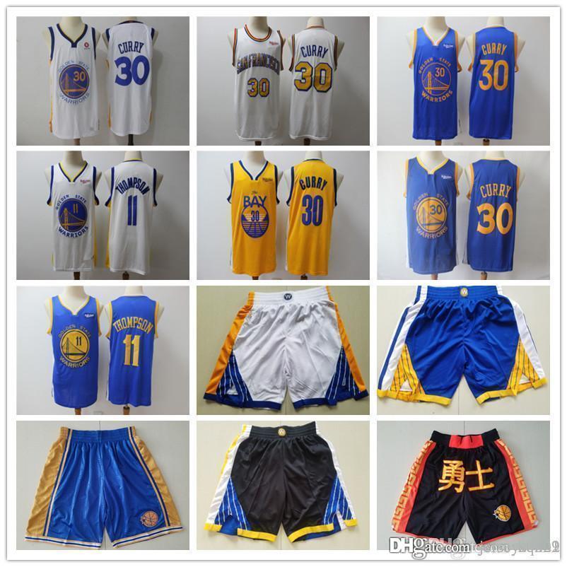 Mens orEtatGuerriersJersey Klay 11 Thompson Stephen 30 Curry Basketball Shorts Basketball Jerseys Bleu Bleu Noir