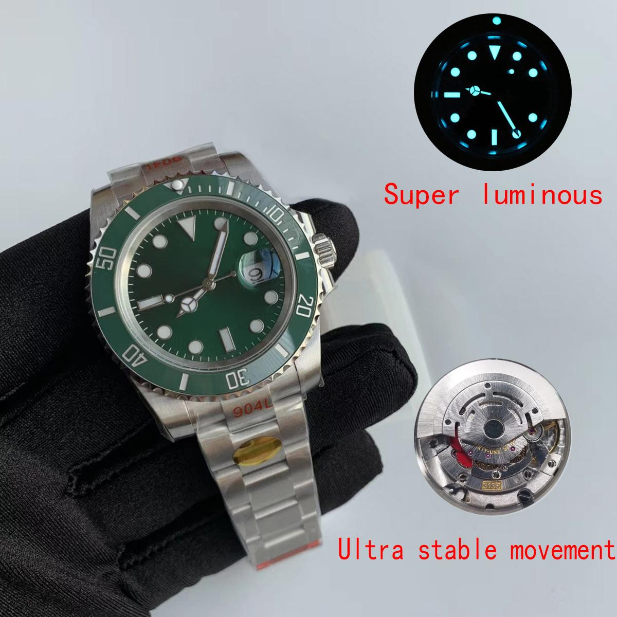 Спортивные мужские часы импортировали автоматические часы 3135 керамический ободок супер яркий дайвинг спортивный водонепроницаемый 904L скольжения пряжки стали мужские часы