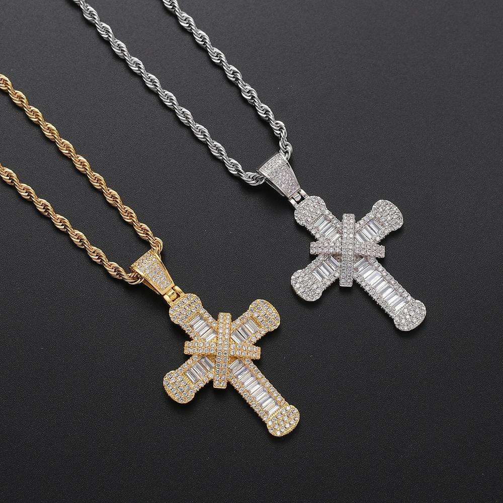 Виктория Вика Роскошные ювелирные изделия Real 925 Посеребренных Pave белого топаз CZ Алмазного Бриллиантовые крест кулон ожерелье женщины для партии