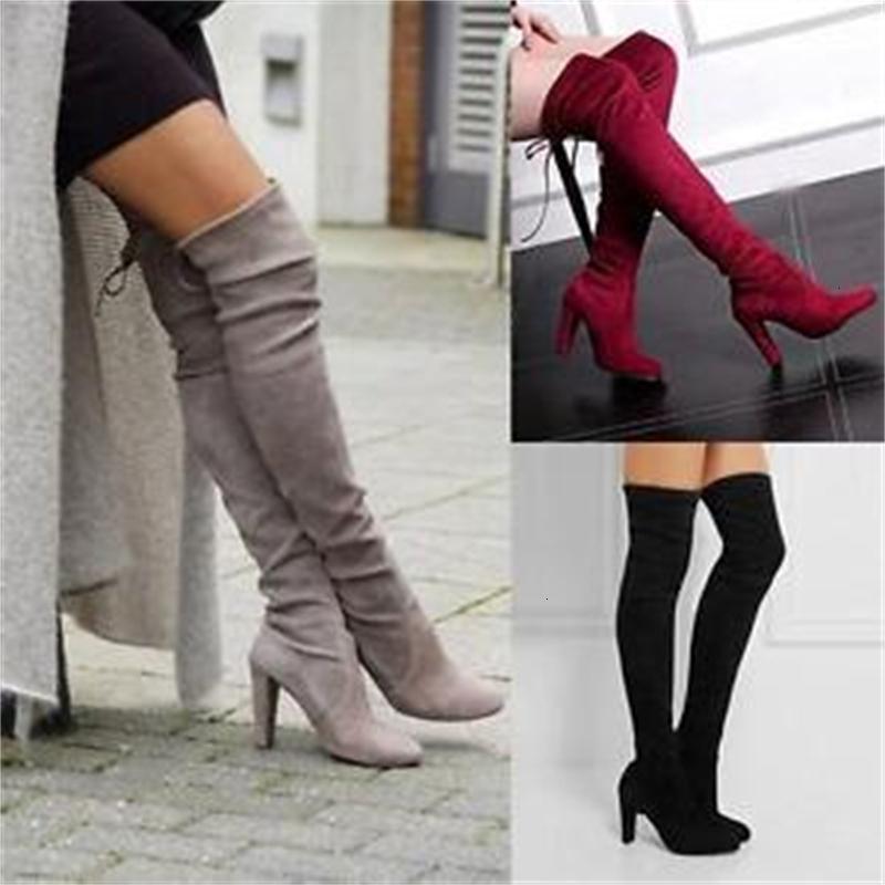 Los tacones altos H 48 cm las mujeres del invierno de la manera sobre la rodilla gamuza sintética Espesar Slip-en los zapatos Botas largas del vestido de gran tamaño Eu 35-43 7S