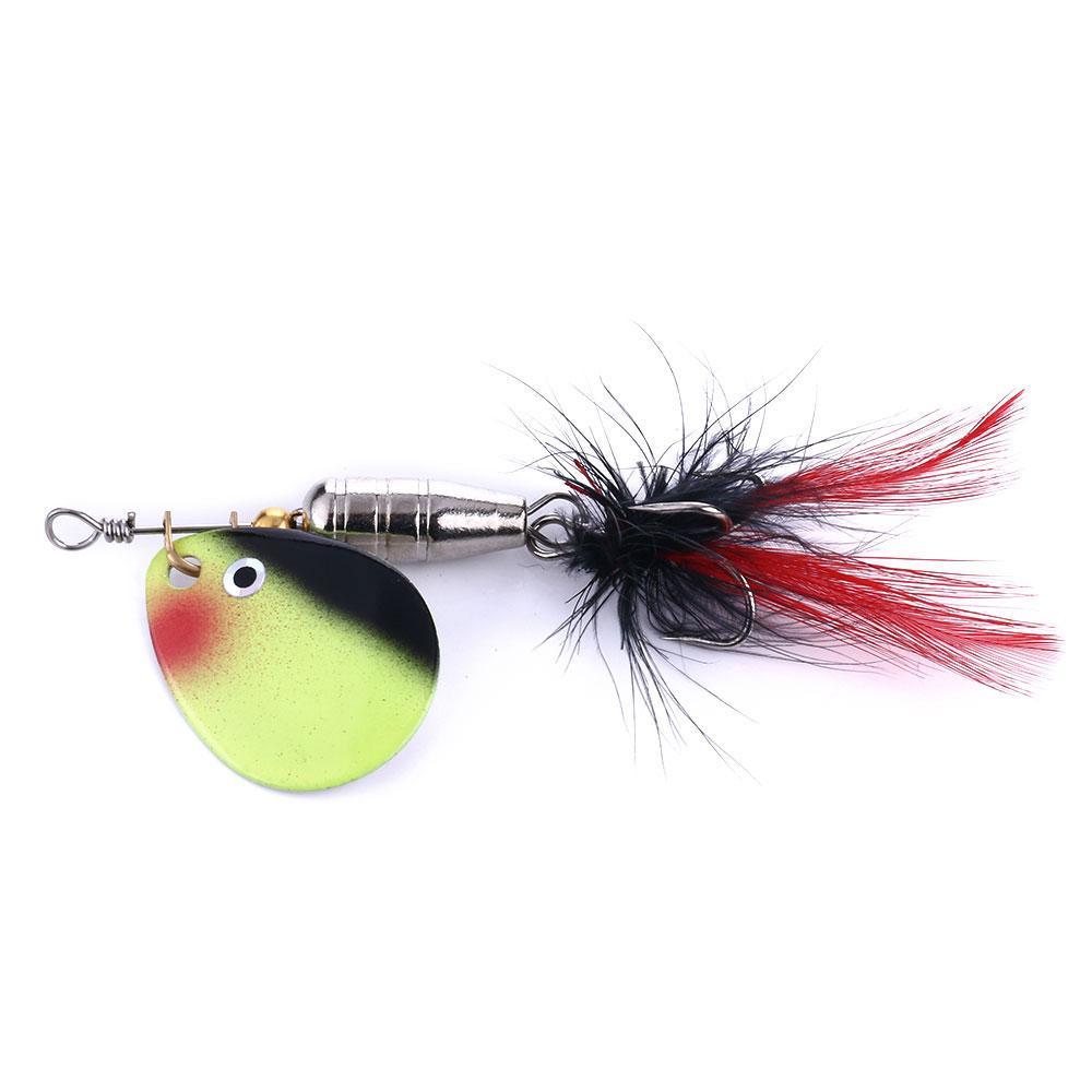 Pêche Metal Spoon Spoon Treble Crochet de plumes Spinner Baits 6.3g 6 # Crochets Spoon Leurre Spinner et cuillère Laser Laser 100pcs Fre Livraison