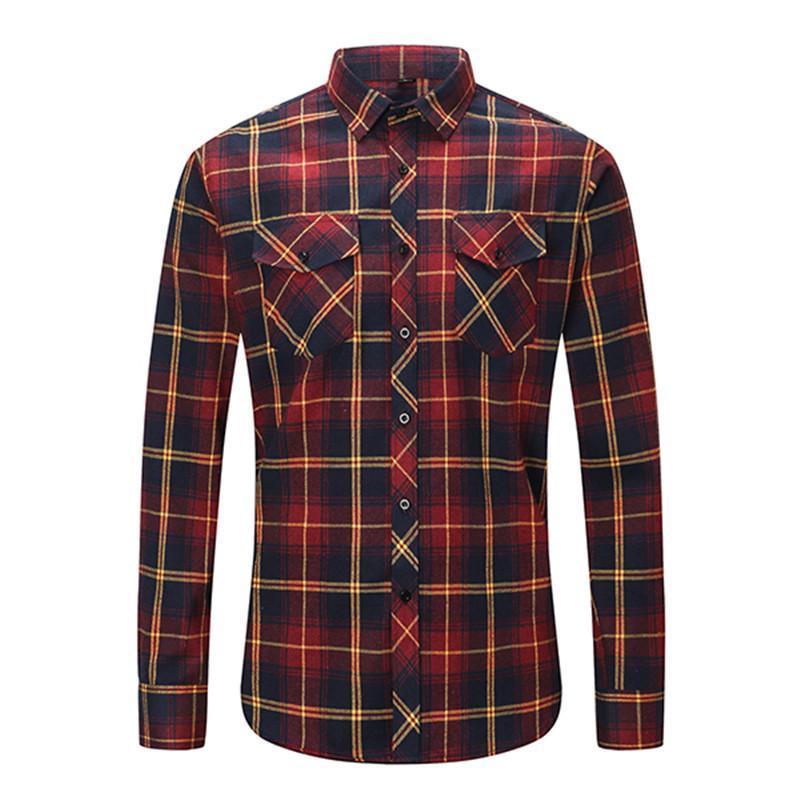 Dioufond Mens poche Flanelle Plaid Chemise en coton à manches longues Casual Slim Fit Checkered Noir chaud Automne Hiver Chemises New c0925