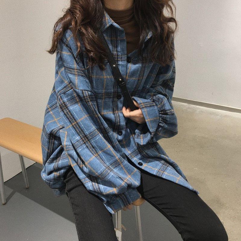 2020 Корейский стиль Крупногабаритные клетчатые рубашки блузка женщин Осень Хлопок Блуза с длинным рукавом плюс размер Блузы Кнопка рубашка Blusas
