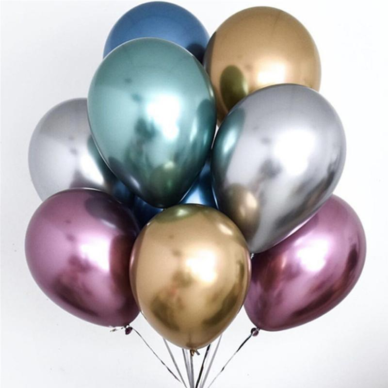 10pcs / lotto 12inch della decorazione gonfiabili Balloons metallici cromo metallico lattice palloni ad aria Elio Globos FESTA NUZIALE