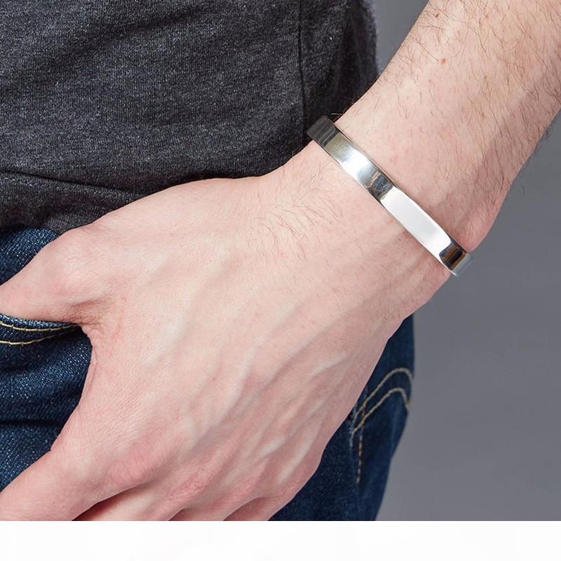 Il braccialetto del braccialetto 6MM 8MM Classic Flat di coppia per gli uomini 8 millimetri in acciaio inox Grange Polsini braccialetto finitura lucida Comfort-fit