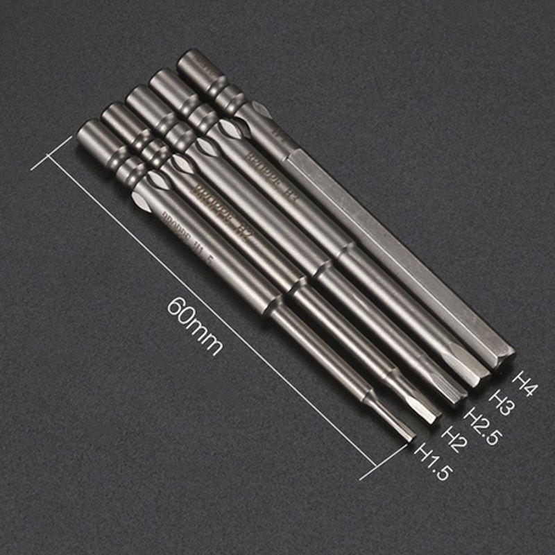 5pcs H2 H1.5 H2.5 H3 H4 Hex Bit 800 4 mm ronde Shank hexagonal tournevis électrique Drill magnétique tournevis S2 alliage