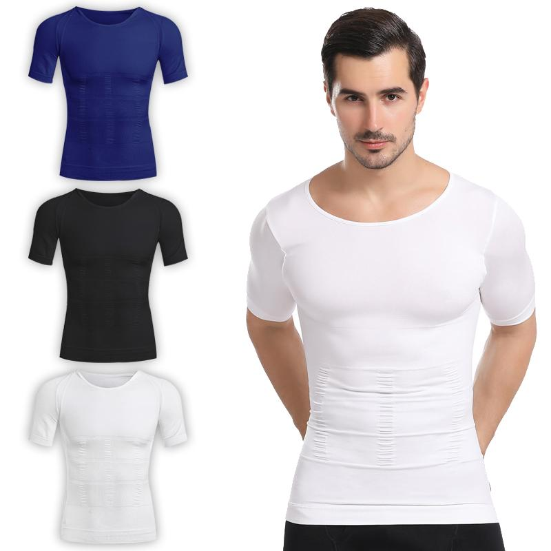 Mens Slimming Body Shaper Vest Fitness Elastic Shirt Abdomen Waist Posture Corrector Corset
