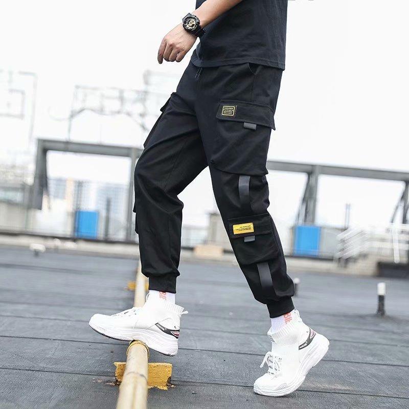 Poches latérales hommes Cargo Sarouel 2020 Black Ribbons Hip Hop Casual Male Joggers Pantalons Mode Pantalons Streetwear Casual