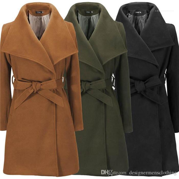 Casual Weibliche Wollmäntel New Schärpen Revers Neck Frauen-Winter-Mäntel Fashion Solid Color Frauen Oberbekleidung