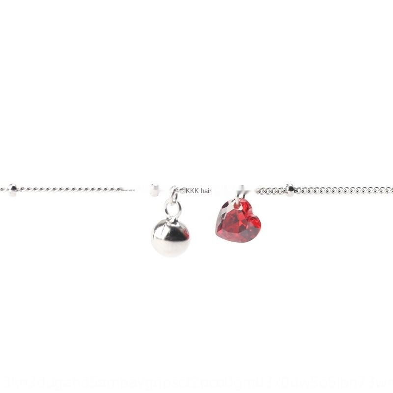 kPuW5 S925 посеребренные циркон любовь красный кристалл персик сердца Белл шарик ножной Mori цепь ноги Кристалл цепь ноги мило
