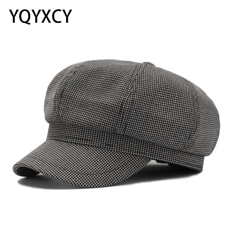Cappelli da corn avaro cappello tappo berretto cappello ottagonale per le donne plaid sboy vintage moda cotone donna primavera autunno gorras 2021