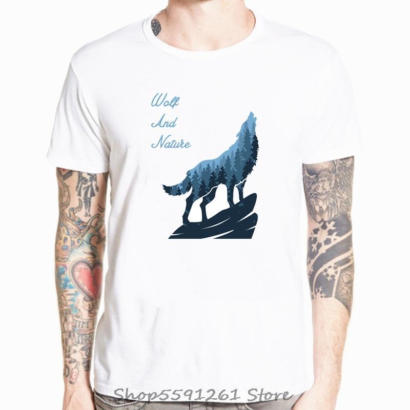 2020 Moda lobo y la naturaleza imprimió la camiseta de manga corta de la novedad del O-cuello de los hombres de Diseño tops frescos tee camiseta informal