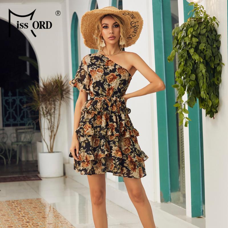 Missord 2020 Yaz Ruffles Kısa Kol Çiçek Baskı Kadınlar Mini Elbiseler Kapalı omuz A Hattı Boho Kadınlar Tatil Elbise M0179