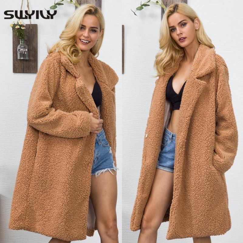 SWYIVY donne eco-pelliccia lunghi cappotti 2020 inverno Fluffy Shaggy lungo cappotto di pelliccia di moda spessore caldo Outwear Apri Stitch Plus Size Xxxl