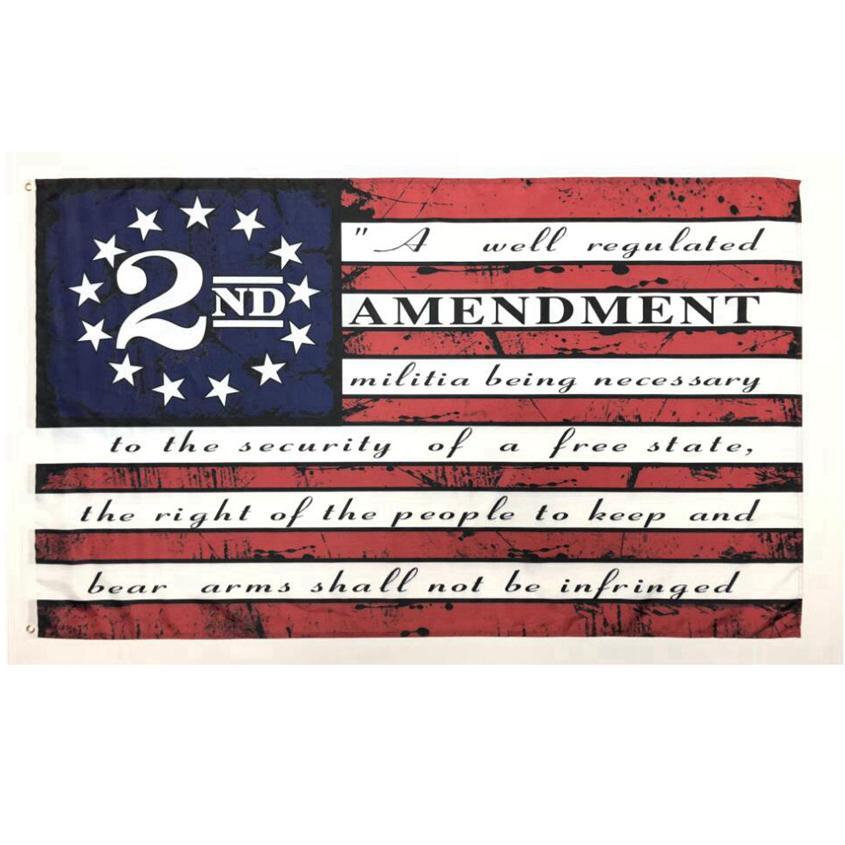 Вторая поправка Урожай американский флаг Открытый Баннер Флаг 90см * 150см Полиэстер Пользовательские США Колледж Баскетбол Флаги CYZ2769