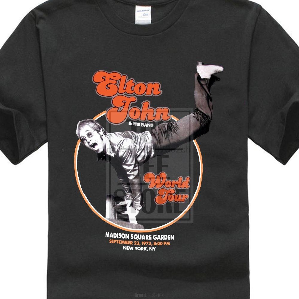 Elton John camiseta Gira Mundial Piano pino logotipo oficial para hombre Nueva Negro Md Xl