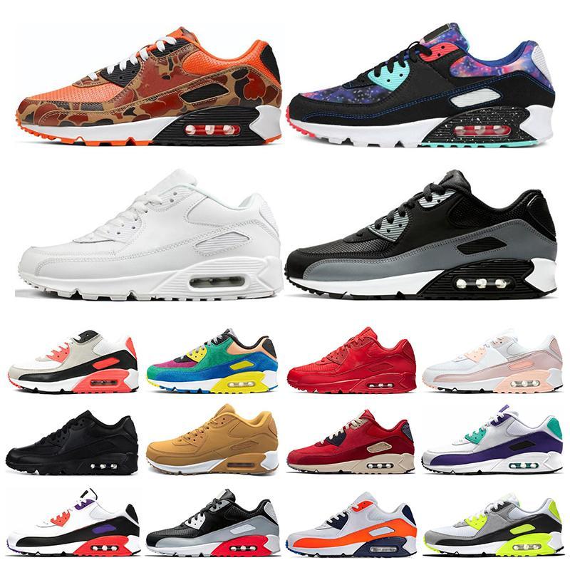 air max 90 Homens e mulheres Sapatos de Corrida Preto Vermelho Branco Sports Trainer Air Cushion Superfície Respirável Esportes Mens Sneakers sapatos 36-46