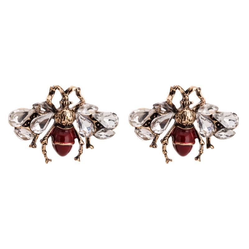Api in lega di cristallo Qiaose novità insetti Stud Earrings animali per i monili delle donne delle ragazze di moda orecchini Bohemian Accessori