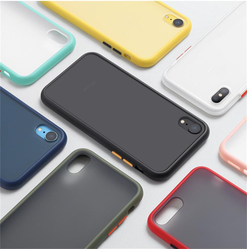 Matte Phone Case for iPhone 12 11 XS MAX XR dura libera di caso antiurto trasparente rigida per iPhone 7 11 PRO MAX Armatura copertina nel sacchetto di OPP