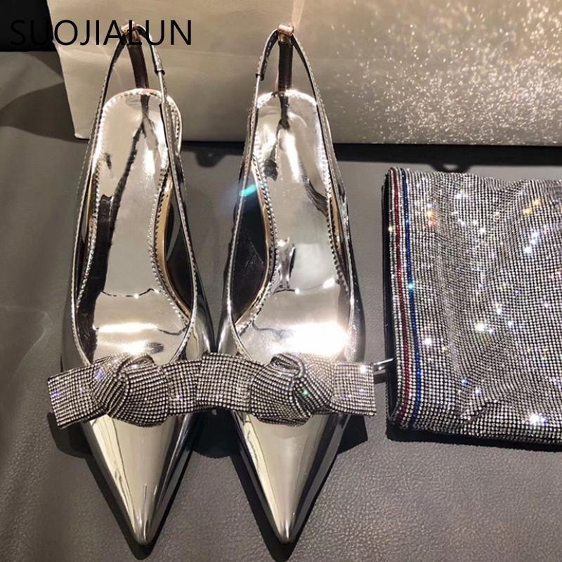 SUOJIALUN 2019 sandalo delle donne di nuovo di marca delle donne di Bling Strass farfalla-nodo Decollettes partito eleganti scarpe tacco alto da sposa Y200620