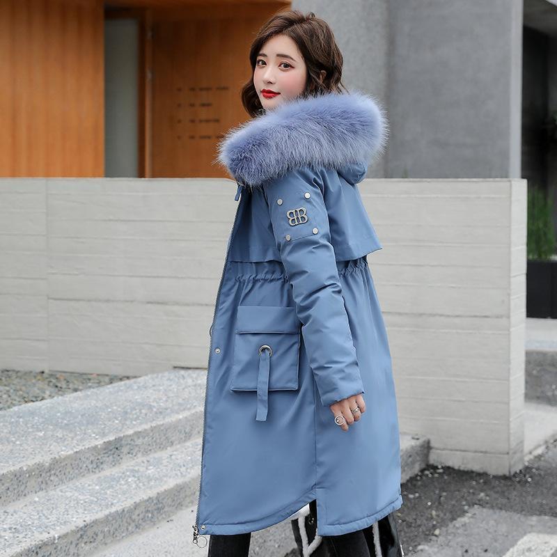 2020 Giacca invernale da donna Collare con cappuccio di moda con grande pelliccia a vento giacca invernale donna giacca lunga mantenerà calda donna parkas