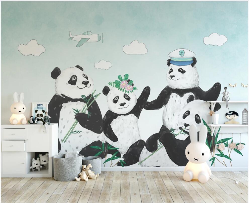 oturma odasında duvar kağıdı 3 d özel fotoğraf duvar Modern siyah beyaz karikatür panda çocuk odası ev dekor fotoğraf kağıdı