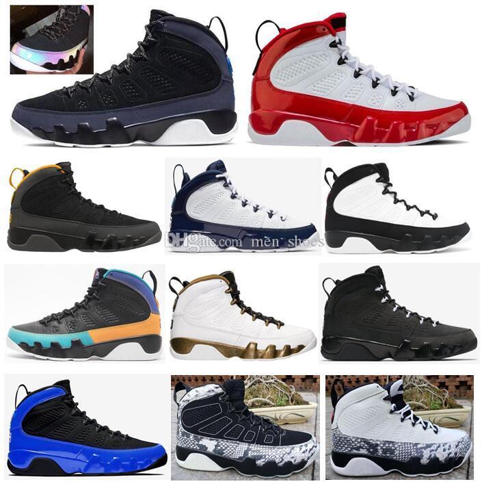 Los nuevos zapatos 9 Universidad Red Gimnasio Oro corredor azul camaleón Space Jam Sueño Se hace él UNC antracita baloncesto de los hombres con la caja 9s las zapatillas de deporte