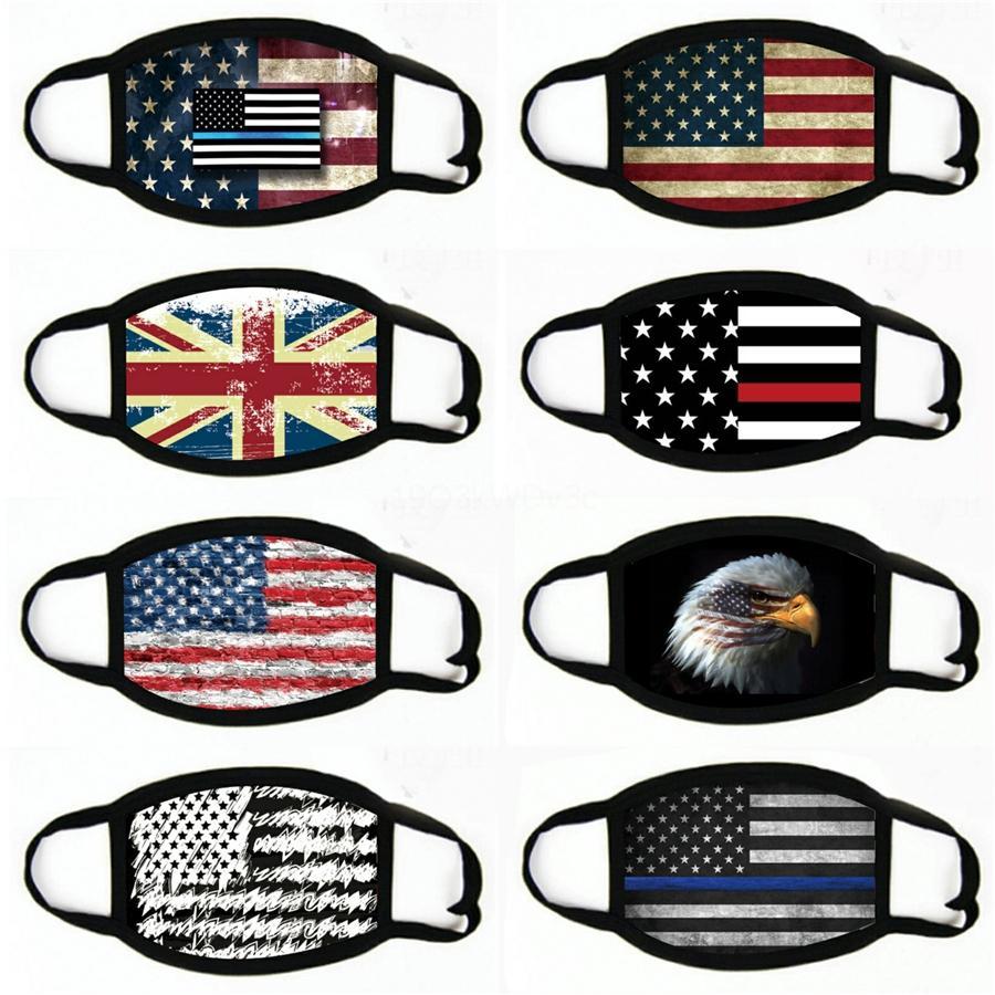 Máscaras Adulto Unisex Rosto Algodão Bandeira ajustável WashableMask americano Impresso Dustproof Máscara # 476