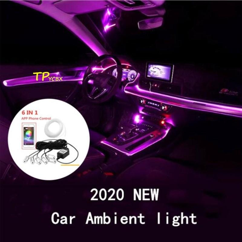 TPYCBX RGB LED Strips Ambient Light APP Bluetooth Control for Car Interior Atmosphere Light EL Neon Wire Strip Universal