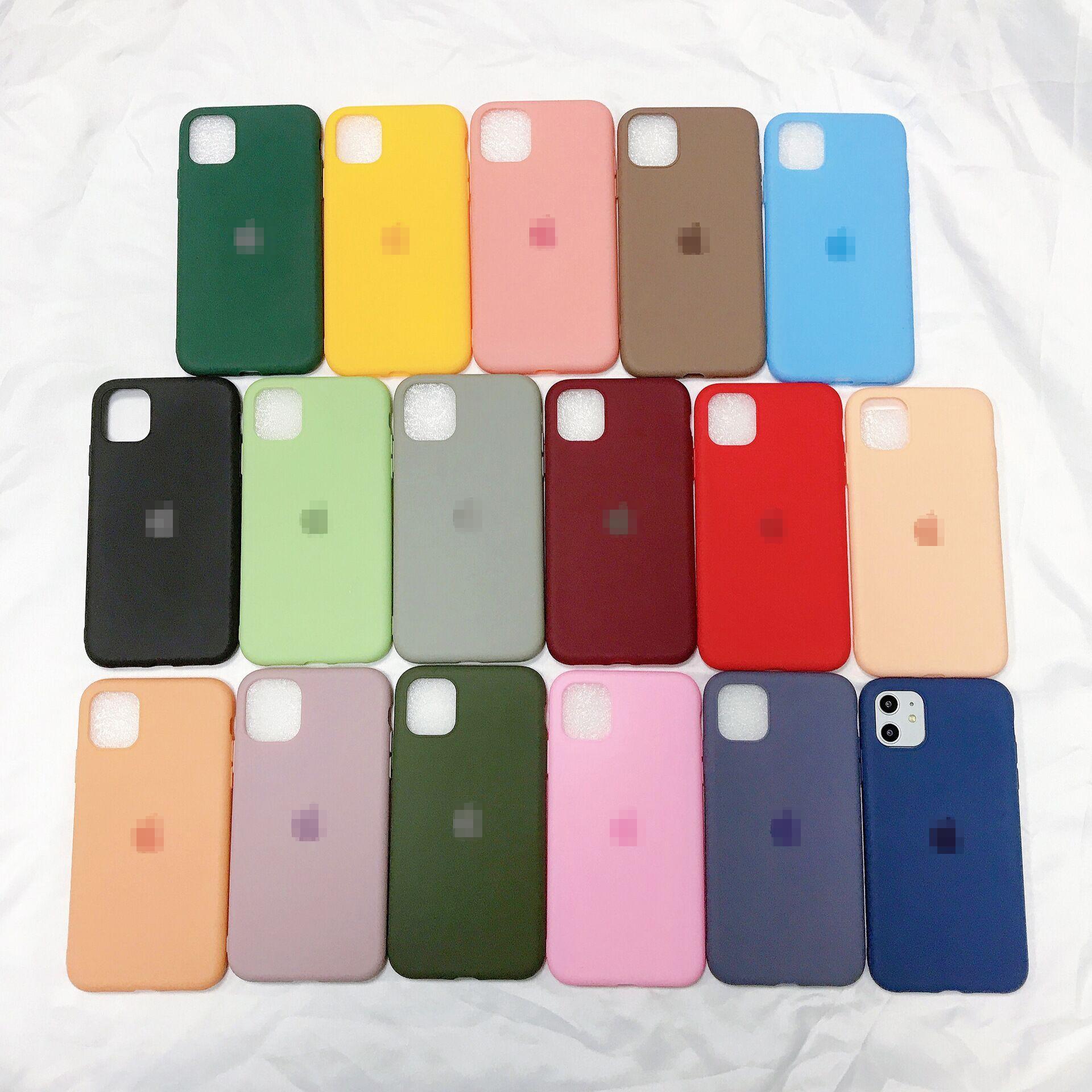 iPhone 11 Pro Max XS Max XR 8 7 6 6s 플러스 DHL 무료 배송을위한 로고 원래 액체 실리콘 케이스가 있습니다.