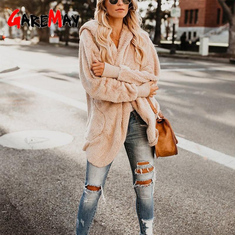 캐주얼 가짜 모피 후드 코트 테디 베어 카키 양털 솜 자켓 가을 겨울 여성 가디건 코트 긴 소매 봉제 외투